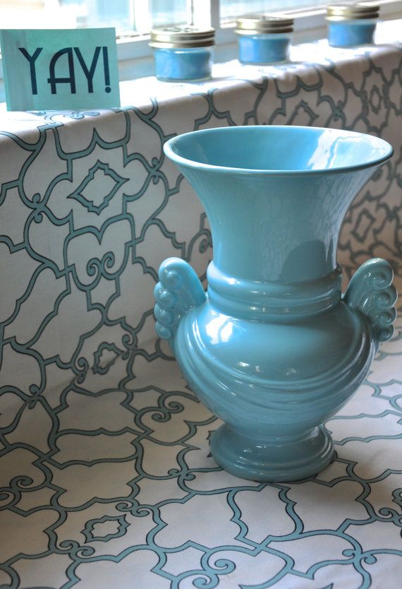 Vintage Blue Abingdon Vase Made in America. Art by HomemadeNation. Perfect for a wedding centerpiece!