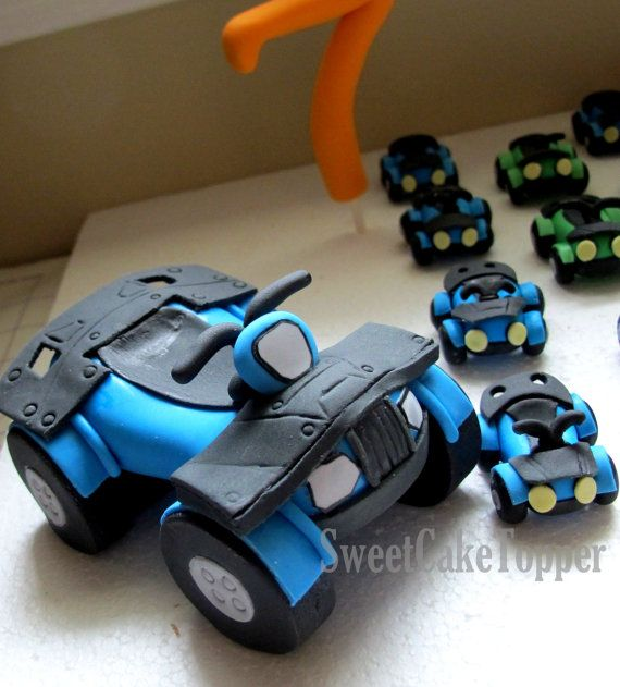 4 Wheeler Car Cake Topper - Fondant Edible Handmade Cake Topper - 1 Set