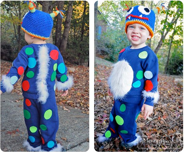 Halloween Monster Costume DIY Tutorial and Free Crochet Pattern for a Crochet Monster Hat!