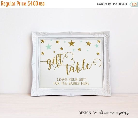 ON SALE Twinkle Twinkle Little Star TWIN Baby Shower Sign , Gift Table Printable Sign , Mint and Gold Gift Table Sign , Mint Baby Shower Sig