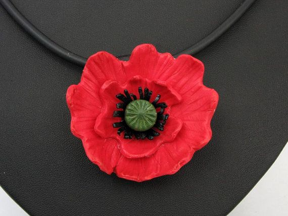 Mohnblume Handgefertigt Aus Polymer Clay Halskette Millefiori Ton Millefleur Blumenkette Fimo Rote Blute Grosse Blume Florale Kette Polymer Clay Pendant Polymer Clay Jewelry Fused Glass Jewelry