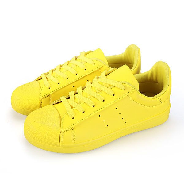 Men Candy Colors Sport Shoes Shell Head Lace Up Sneakers Soft Round Toe Running…