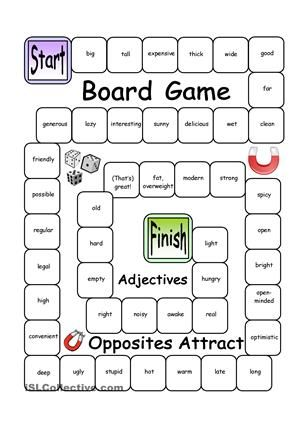 With this board game, learners will revise or enhance vocabulary in an enjoyable way (ADJECTIVES). Every square provides an adjective and players or teams try to find the opposite. Let´s make learning fun! - ESL worksheets