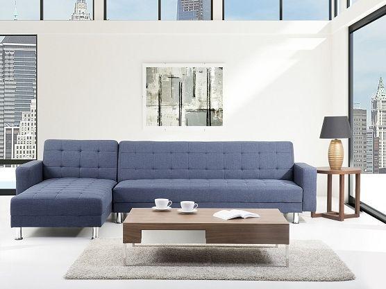 Blue, woderful, upholstered sofa for a chillin' living room https://www.beliani.ch/schlafzimmer-moebel/schlafsofa/sofa-blau-schlafsofa-ecksofa-stoffsofa-aberdeen.html