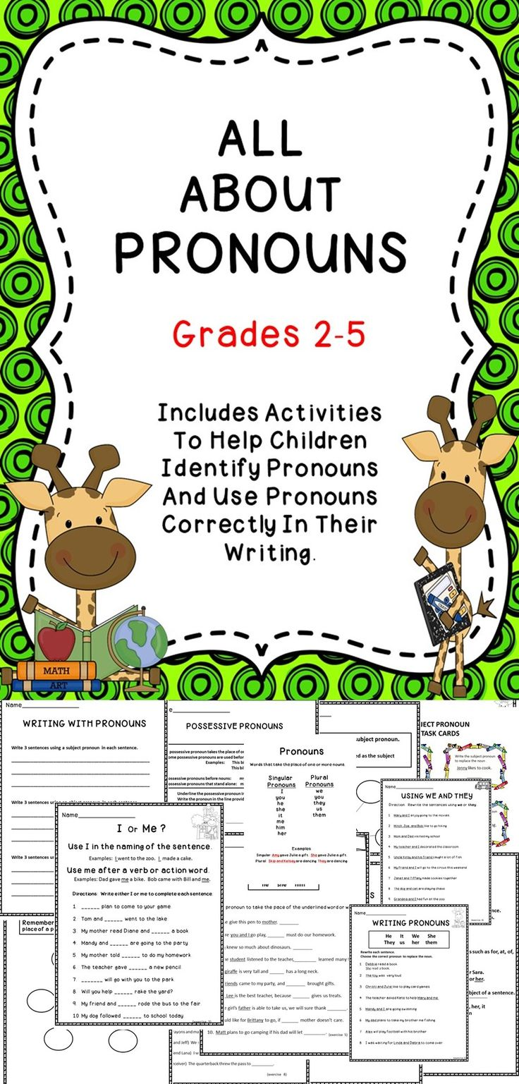 All About Pronouns - A great supplemental resource for the elementary language arts classroom.