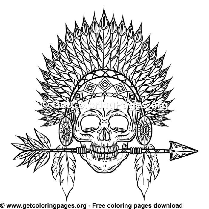Indian Headdress Feathers Skull 6 Coloring Pages Skull Coloring