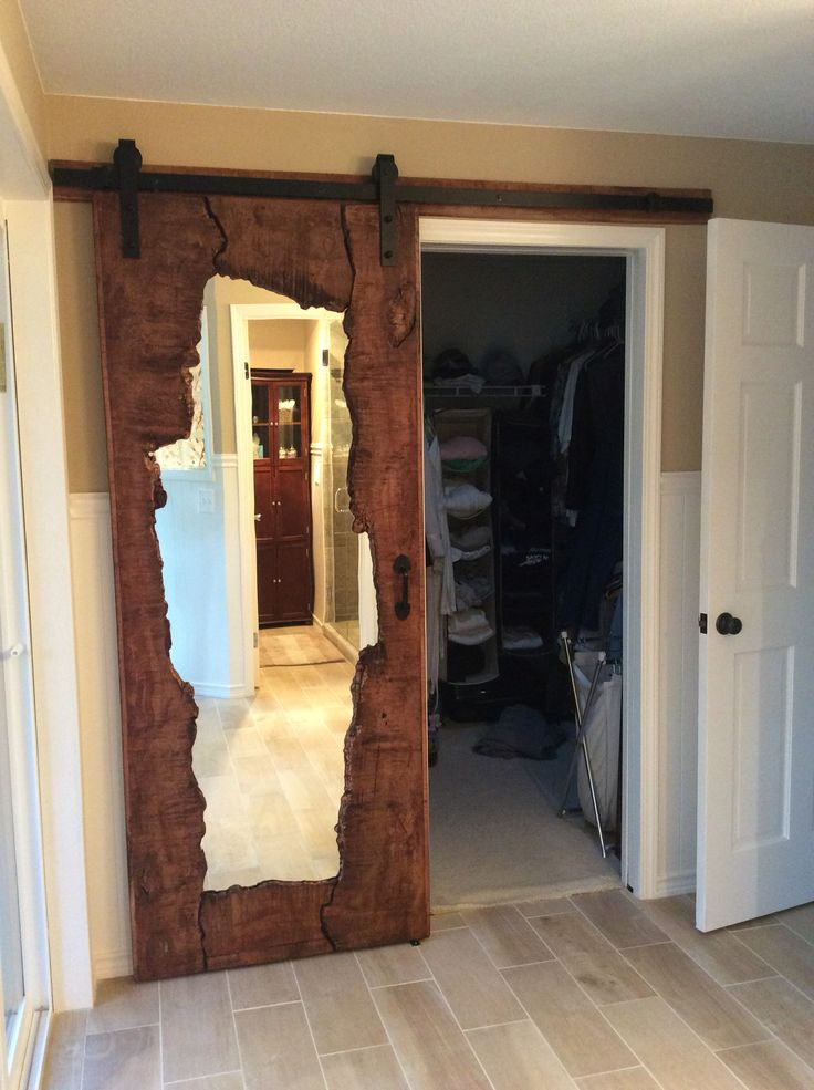 Live edge wood mirror barn door