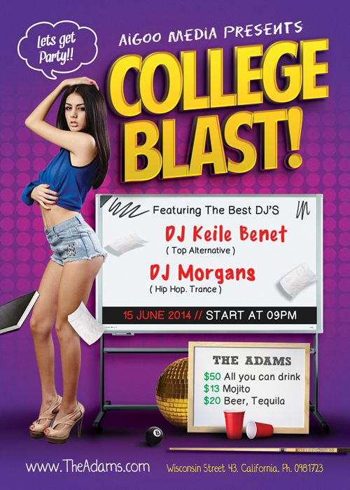 Free College Blast PSD Flyer Template - FreePSDFlyer http://www.freepsdflyer.com/free-college-blast-psd-flyer-template/