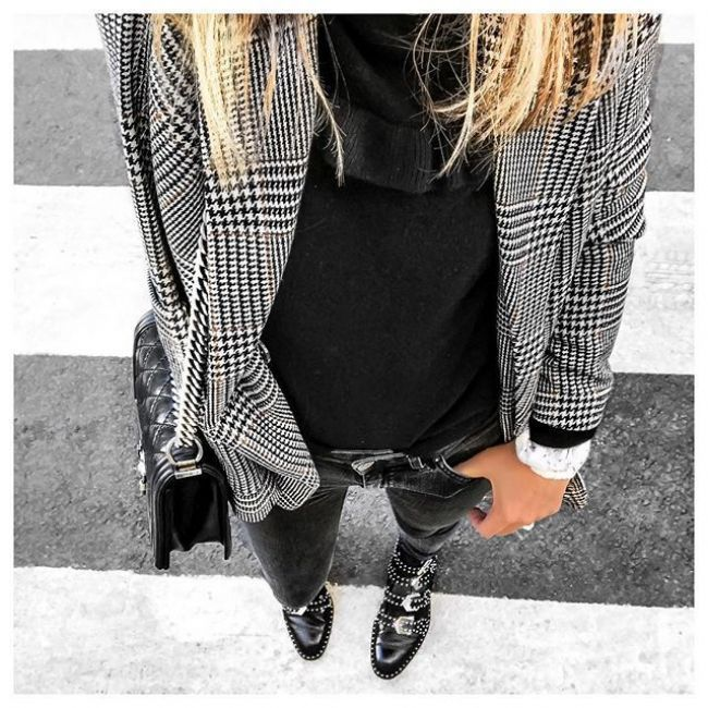 BLACK & WHITE _________________ • Jacket #handm#hm • Knit