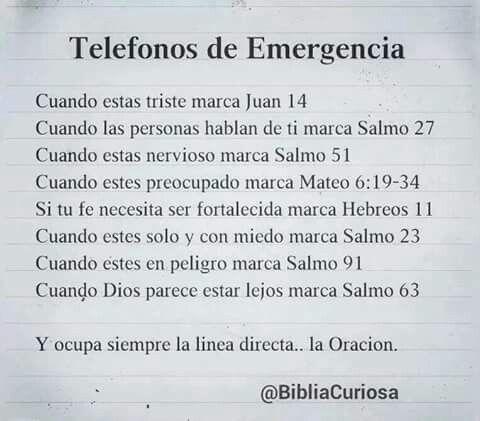 Números telefónicos de emergencia.