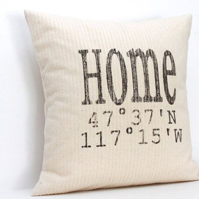 Custom Home Latitude Longitude Pillow by BabyBox on Opensky