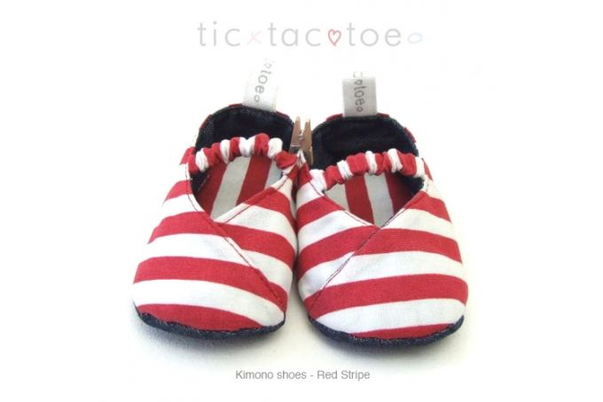 Kimono Reversible Shoes - Red Stripe by Tic Tac Toe on hellopretty.co.za
