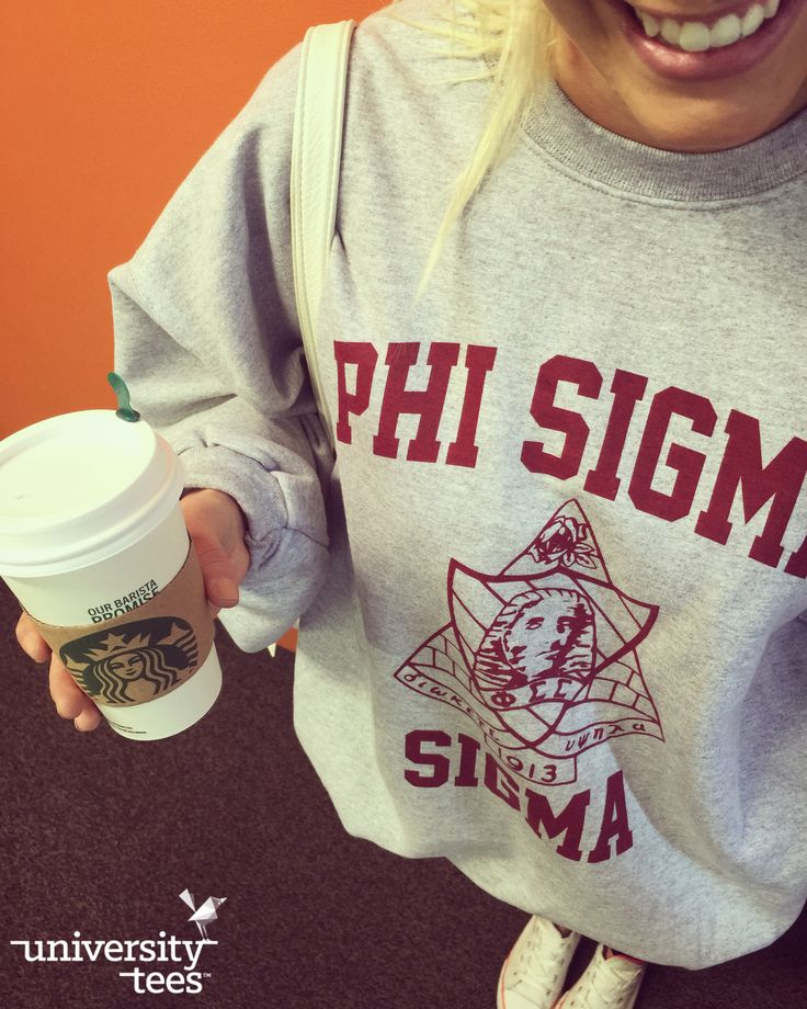 Oversized sweatshirt, sneakers, and coffee = Fall Vibes   Phi Sigma Sigma   Made by University Tees   www.universitytees.com