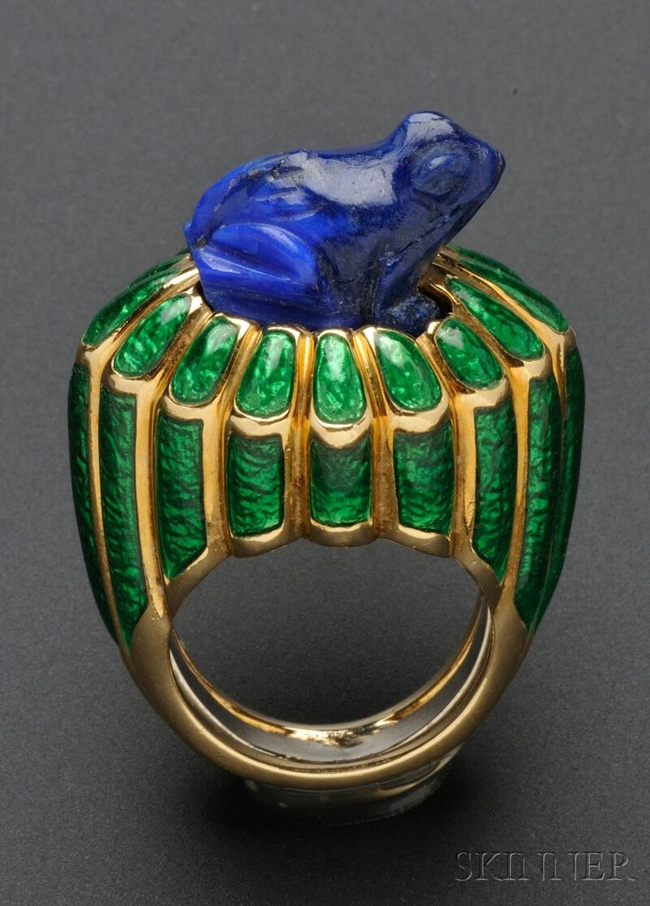 18kt Gold, Lapis, and Enamel Ring, David Webb, the shaped ring set with a carved lapis frog, green enamel reserves, size 6, signed. Whimsical and adorable.