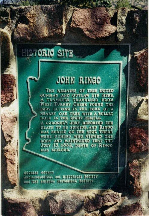 Site of Johnny Ringo's suicide near Tombstone AZ.  Ringo was a friend of the Clantons and McLaurys and disliked the Earp brothers. He may have been involved in the ambush shooting of Virgil Earp that left Earp's arm crippled for the rest of his life.