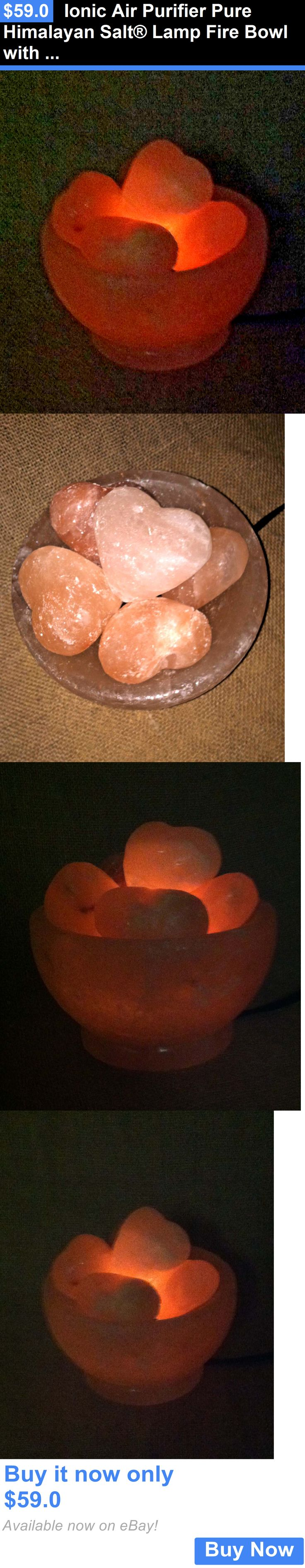 Massage Stones and Rocks: Ionic Air Purifier Pure Himalayan Salt® Lamp Fire Bowl With Heart Crystal Stones BUY IT NOW ONLY: $59.0