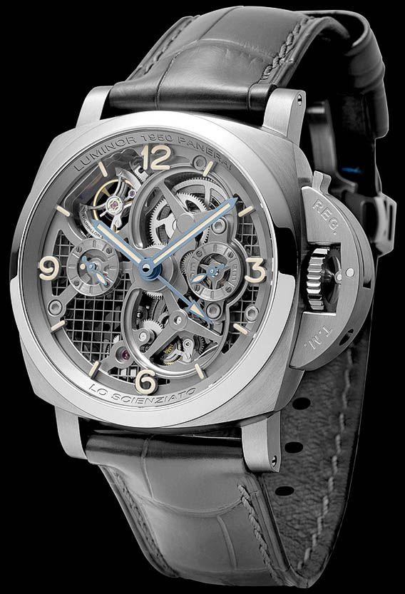 La Cote des Montres : La montre Panerai Lo Scienziato Luminor 1950 Tourbillon GMT Titanio – 47mm - Réf. : PAM00578