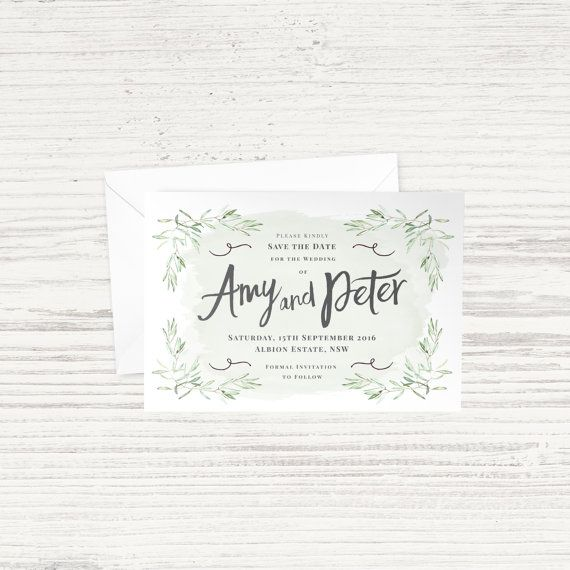 'Olive Leaf' Save the Date - Green & Grey - A6 - Matching Wedding Suite Available - Custom Design