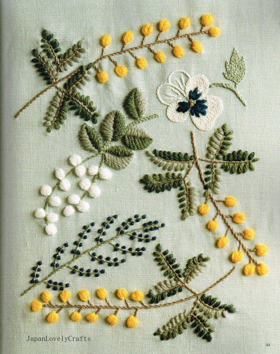 Wool Stitch – Yumiko Higuchi – Japanese Craft Book – Natural, Flower, Herb, Bird, Tree, Candy Design – DMC Wool Embroidery Threads – B1479
