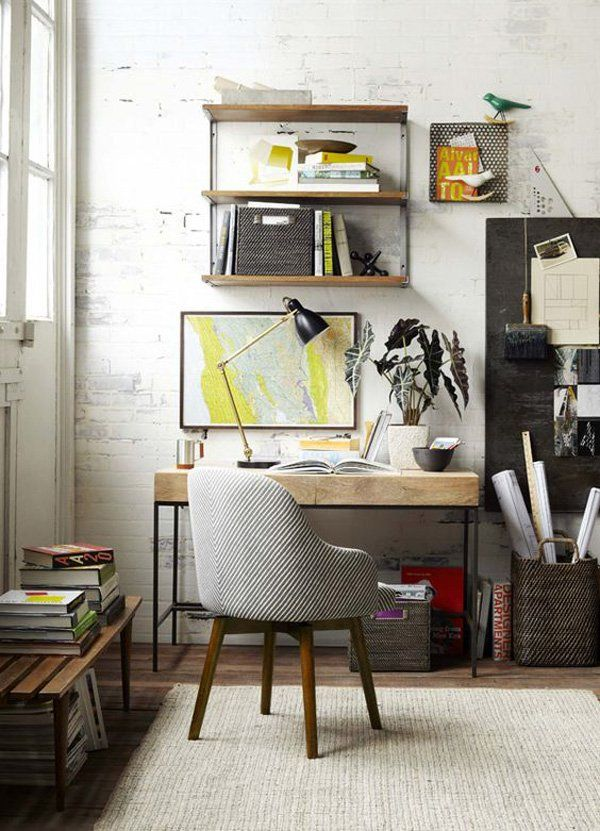 45 inspirational home office ideas wall mounted shelves for Escritorios para salon