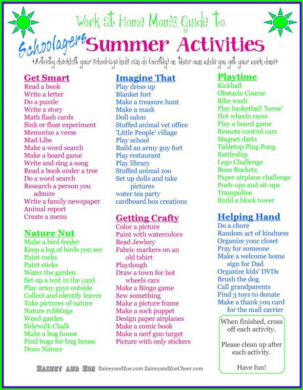 Work at Home Mom kids summer checklist! Keep kids busy while mom works! More resources and printable copy at WomensBusinessWorkshop.com.