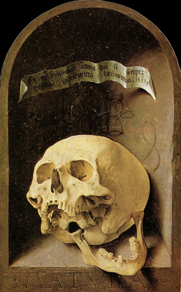 Jan Gossaert, 1517 Jan Gossaert (1478–1532)  Description: Trompe-l'oeil Skull. Date 1517,  wood. 43x27 cm. Louvre Museum.  commons.wikimedia.org/wiki/File:Jan_Gossaert_014.jpg