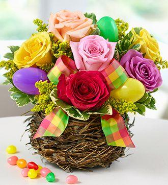 Easter Egg Rose Basket #Houston #Flowers #Delivery #Roses #Spring