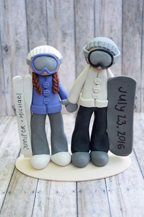 Snowboader and Skiier Cake Topper snowboard ski by CalledandChosen