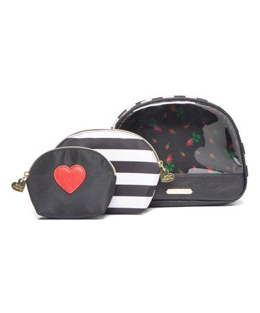 Love this Black Stripe Away We Go Cosmetic Bag Set on #zulily! #zulilyfinds