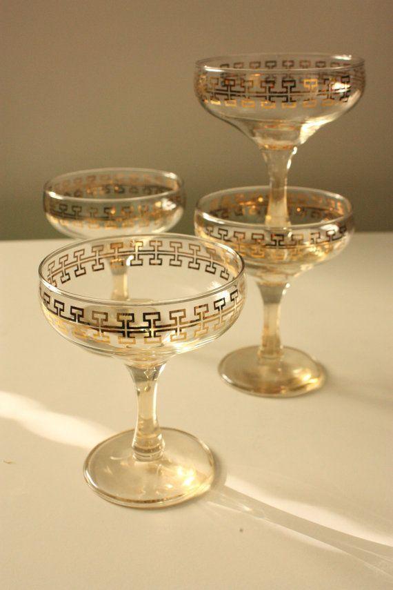 Vintage Champagne Glasses  Gold key pattern by TriBecasVintage, $16.95