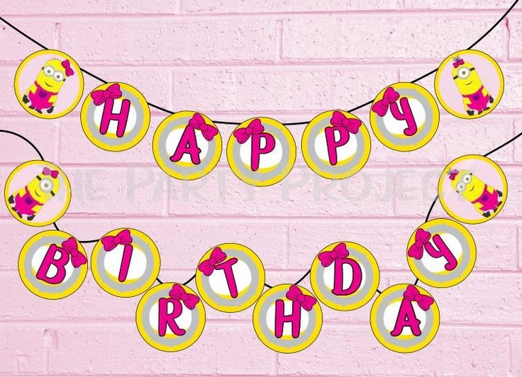 """INSTANT DOWNLOAD. Decorate your little girl'sparty in style with this Pink Minions """"Happy Birthday"""" banner! - A great addition to your Despicable Me - Minions birthday party! / Pink minions party printables.."""