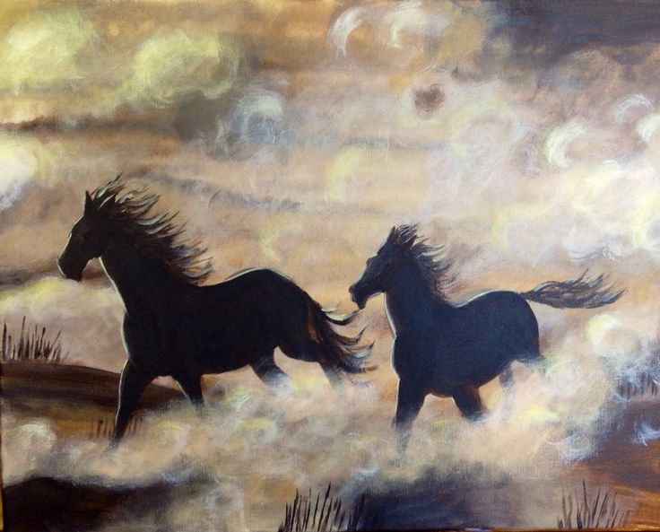 Running free ! Acrylic on canvas  Love my horses ! By Belinda Laurie