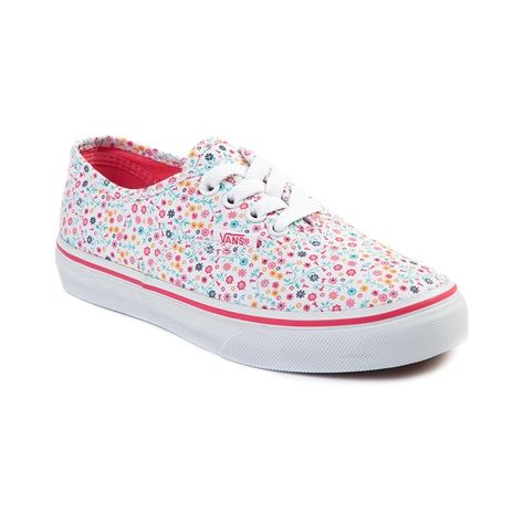 shop for youth vans authentic floral skate shoe in white