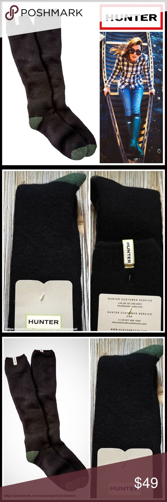 HUNTER ORIGINAL Tall Boot Socks 💟 NEW WITH TAGS 💟  HUNTER ORIGINAL Tall Boot Socks  * Super soft, cozy & comfortable fabric * Wool blend construction w/knit construction * Stretch-to-fit; Logo detail * One size fits many, approx shoes sizes 5.5-11, tall knee high boot length * Designed for 'Hunter Original Tall Rain Boot' Fabric- 13% nylon, 16% acrylic, 17% wool, 23% viscose, 29% polyester, 1% cotton, 1% elastane; Machine wash Item# Color-Black  🚫No Trades🚫 ✅Bundle Discounts✅ Hunter…