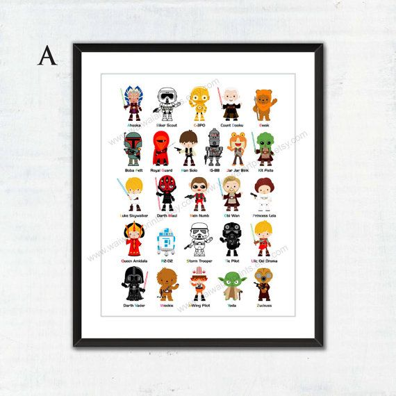 A-Z Nursery Art Print. Star Wars Poster Star by waiwaiartprints