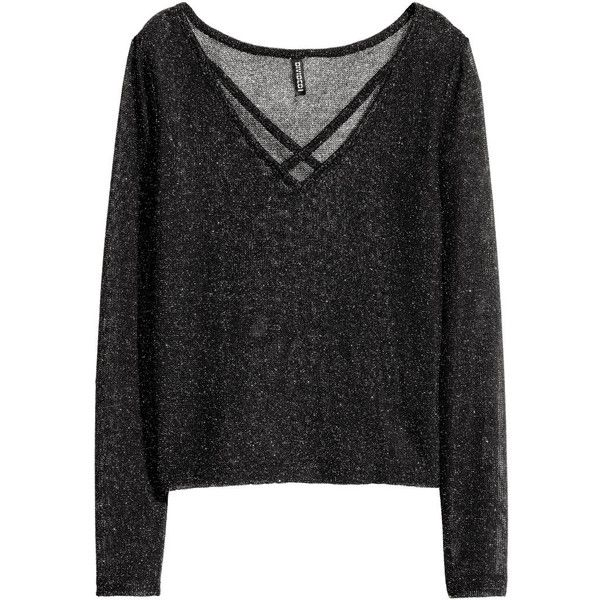V-neck Sweater $14.99 (£12) ❤ liked on Polyvore featuring tops, sweaters, h&m, long sleeve sweater, knit top, v neck knit sweater, loose tops and long sleeve tops