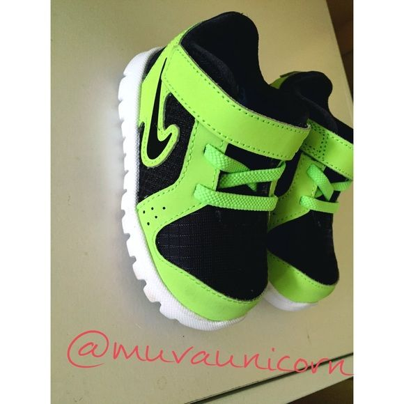 Toddler Nike Running Shoes  Toddler 5C Nike lime green and black bikes with Velcro straps , 9/10 used lightly around the house he grew into them very fast my son is 3 now so they are collecting dust he used these at 1 .6 years old Nike Shoes Sneakers