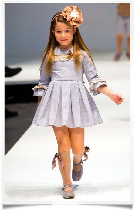 Chambray Quarter Sleeve Dress by Tartaleta| Spanish Kids Fashion | Chichi Mary Kid's Boutique