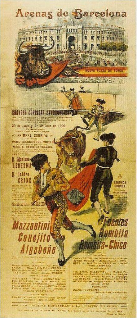 Cartel de la Plaza de Toros Arenas de Barcelona. 1900