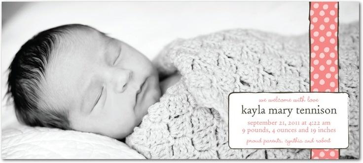 Studio Basics: Birth Announcements - Baby Yarn: Strawberry by Tiny Prints