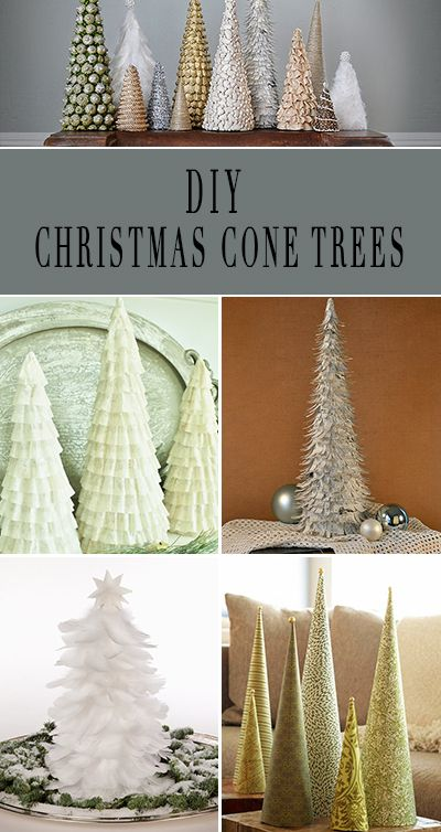 DIY Christmas Cone Trees • Easy projects for creating cone trees for tabletops or your mantel, from paper, feathers even coffee filters!