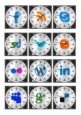 Wall Clocks style social media icons : This is a fantastic package of 12 social media icons clocking in some adorable set of wall clocks styled social icons, textured in grey and embossed with some in vogue social media icons into the centre of the rotating pointers.