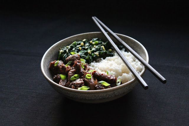 Vietnamese caramelized pork with spinage