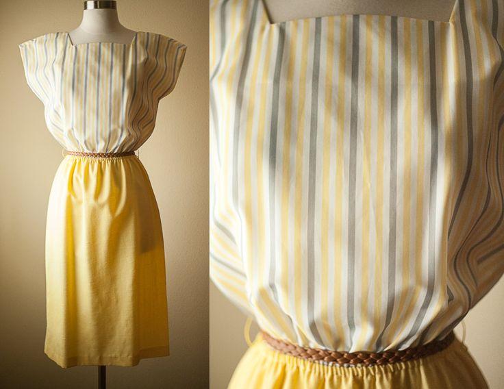 Vintage Yellow Dress // 70s Dress 80s Dress Midi Skirt High Waisted Skirt Pencil Skirt Slouchy Top Summer Fashion Mod Secretary Day Dress by BlueHorizonVintage on Etsy