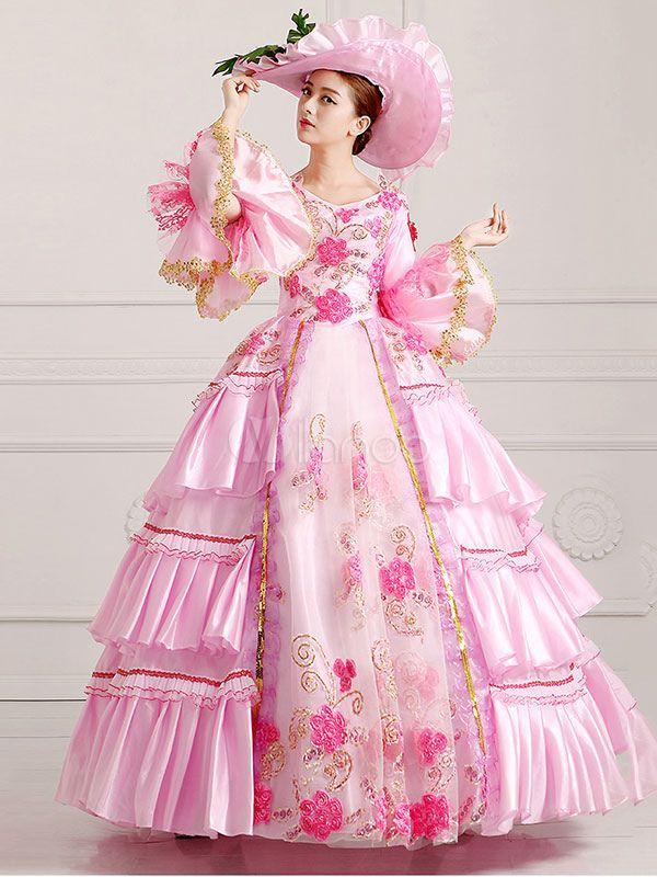 7369c4c08187 Women's Vintage Costume Victorian Royal Halloween Ball Gown Pink Pageant  Dress Halloween - Milanoo.com