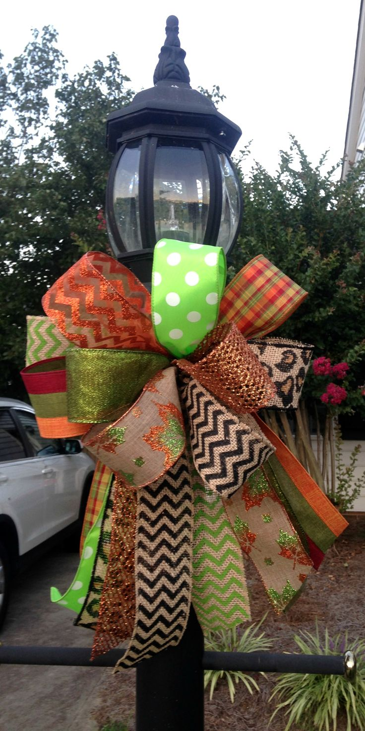 fun fall lamp post bow adoorable wreaths by melissa - Christmas Lamp Post Decoration Ideas