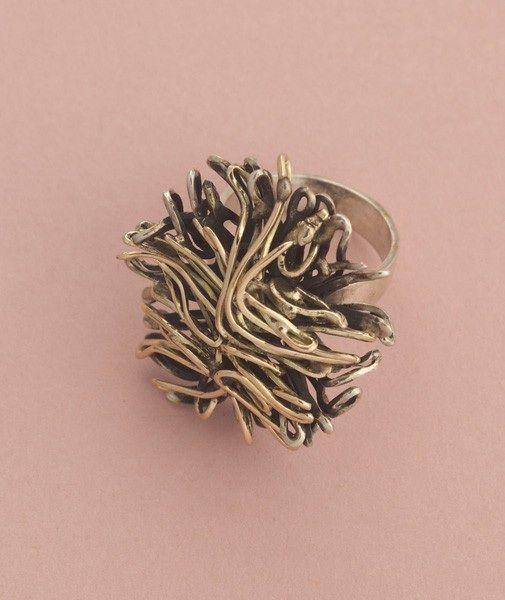 "Liisa Vitali for Aatos Johannes Hauli,  Vintage ""Tuulenpesä"" (Wind nest) series, ring in silver, partly gilt, 1969.   Hagelstam & Co. #Finland"