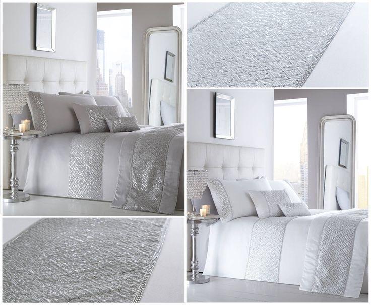 D tails sur chatoyant luxe sequin diamant blanc argent - Housse couette luxe ...