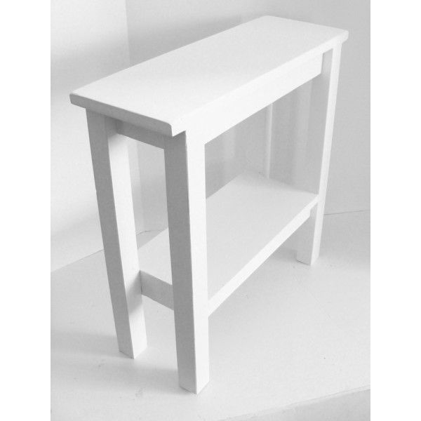 Modern Table Side Table Narrow Table White Table End Table Cottage... ($98) ❤ liked on Polyvore featuring home, furniture, tables, accent tables, black, coffee & end tables, home & living, living room furniture, wooden side table and white wood end tables