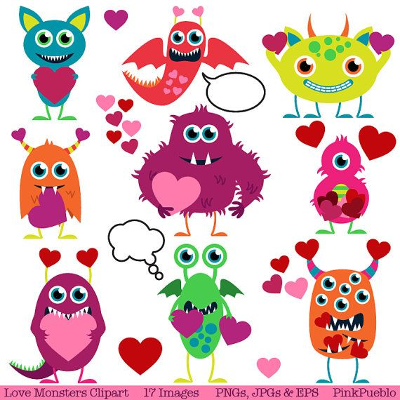 Valentine Monsters Clipart Clip Art, Love Monsters Clipart Clip Art - Commercial and Personal